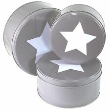 SET OF 3 ROUND METAL CAKE TINS GREY/WHITE STAR VINTAGE RETRO BISCUITS TIN NEW
