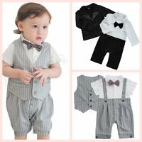 Newborn Baby Boy Wedding Formal Tuxedo Suit Gentleman Bowtie Romper Outfit Cloth