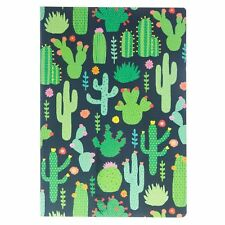 Sass and Belle A5 Sized Notebook - Green Colourful Cactus Design Plain Paper
