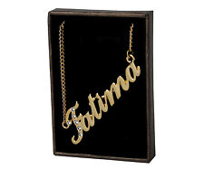 "Name Necklace ""FATIMA"" - 18ct Gold Plated - Made With Swarovski Elements - Gift"