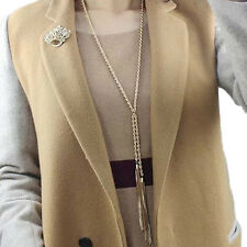Women's Gold Pleated Tassel Pendant Long Chain Sweater Necklace Jewelry Exotic