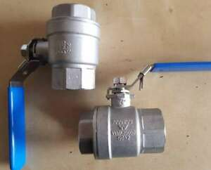 """SS316 2 Piece Body ball valve BSP Threaded Ends 1 """" Watermarked 25mm"""