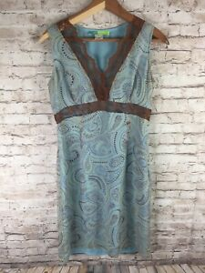 Beth Bowley Womens L Blue Brown Lace Sleeveless Vintage Sheath Dress Paisley