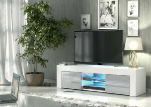 White/Grey TV Unit Cabinet Stand Sideboard Matt Small and High Gloss Doors LED