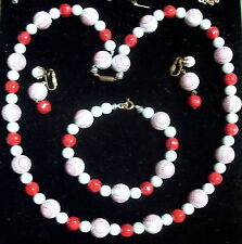 Vintage Set of Red, White & Red Round Bead Necklace, Bracelet, Clip on Earrings