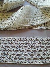 DRG02 Ancien galon entre-deux dentelle au fuseau 6x480cm Old cotton lace braid