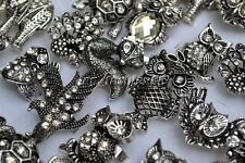 Wholesale Mixed Lots 10pcs Big CZ Rhinestone Animal Silver Plated Rings FREE