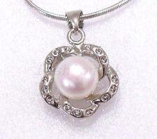 Versilberte runde Modeschmuck-Halsketten & -Anhänger mit Perlen