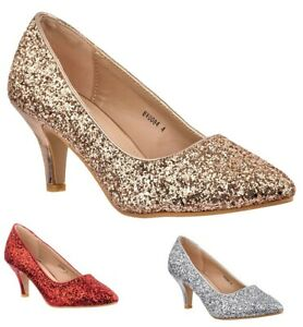 New Ladies Party Prom Low Kitten Heel Pointed Glitter Evening Court Shoes 3-8