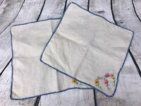 Set 2 Vintage Natural Linen Embroidered Multi-color Flowers Handkerchief Napkins