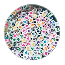 100 x Multi Coloured Heart 6mm Cube Beads for Jewellery Making