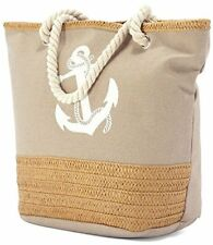 Large Canvas Beach Bag with Soft Rope Handles - Blue