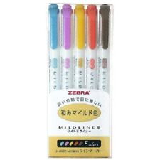 Zebra Mildliner 5 color / Double-Sided Highlighter Marker / Japan