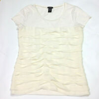 Ann Taylor Ruffled Ivory Blouse Womens Size Small Short Sleeve Casual