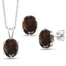 3.60 Ct Brown Smoky Quartz 925 Sterling Silver Pendant Earrings Set With Chain