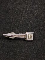 Vintage Swank Silver Tone White Initial W Or M Tie Clip 12780