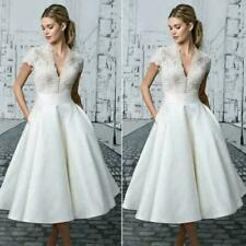 Ladies Vintage Wedding Dress White Lace Bride Dresses Sweet V Neck Wedding Gowns