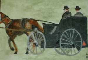 """ACEO ORIGINAL ART """"AMISH MEN IN THEIR BUGGY"""" PAINTING BY ARTIST LB"""