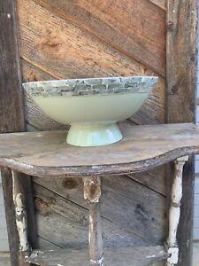 New! Tommy Bahama Bamboo Wood Salad Serving Bowl Sage Green Abalone Shell