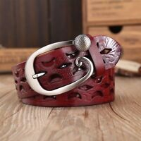 Belt Men women High Quality Luxury Real Cowhide Hollow Out Genuine Leather Belt
