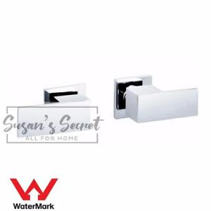 WELS Brass Bathroom Chrome Square 1/4 Turn Hot Cold Twin Handle