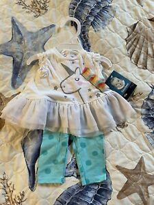 Nwts Newborn baby girls Gerber 2 piece Unicorn outfit cute