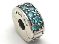 Authentic Pandora Shining Elegance Teal CZ Clip Charm 791817MCZ New