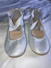 NEXT Girls Sparkly Silver Balerina Tie Up Shoes Size 13