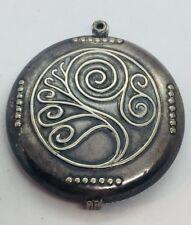Antique Sterling Silver Large Ornate Slide Locket Pendant