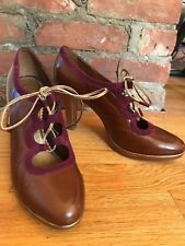 leifsdottir brown/wine/gold leather womens lace up gillie shoes size 8.5 B