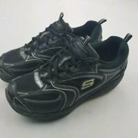 Skechers Womens Shape Ups Walking Shoes Black 12320 Low Top Lace Up Leather 7.5
