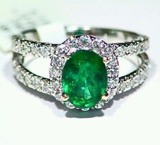 2.54CT 14K Gold Natural Emerald White Diamond Vintage Jewelry Engagement Ring