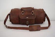 "21"" Brown Leather Duffle Barrel Bag Sports Gym Yoga Bag Overnight Travel Luggage"