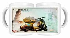 Retro Scooter Metal Signs on Ceramic Mugs For The Man Cave Vespa Grand Sport Mug