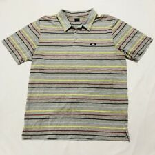 Oakley Polo Shirt Mens Size Large, Short Sleeve Gray With Stripes, Poly/Cotton