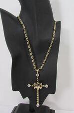Women Necklace Fashion Cross Pendant Metal Chains Gold Silver Black Rhinestones