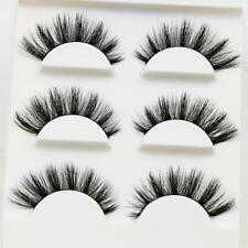 412b189fec1 3 Pairs 3D Handmade False Cross Mink Eye Eyelashes Makeup Natural Long  Lashes