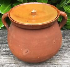 Old Vintage Rustic Country Round Bottom Studio Pottery Terracotta Cooking Pot