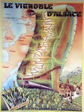 """""""Le VIGNOBLE d'ALSACE"""" Affiche originale entoilée P. BARBIER 1963    53x68cm"""