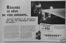 PUBLICITÉ 1931 KODAK AVEC LE KODATOY LE CINÉMA CHEZ VOUS POUR 425 FrS