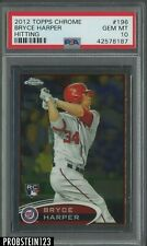 2012 Topps Chrome Bryce Harper Hitting Washington Nationals RC Rookie PSA 10