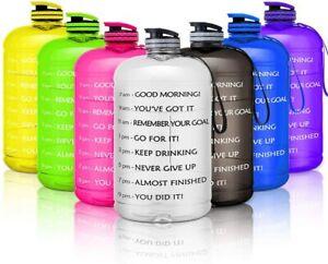 3.78L/ 1 Gallon Sports Leakproof Motivational Time Marker Water Bottle BPA Free