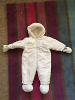 Mothercare Baby Girls White Snowsuit Pramsuit All In One 3-6 Months