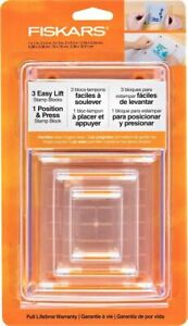 New Fiskars 4 Pcs Rubber Stamp Block Set Tool- Easy Life One Position Four Sizes