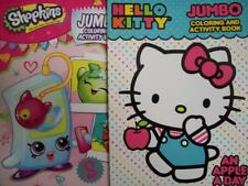 HELLO KITTY  + SHOPKINS (SET OF 2) COLORING & ACTIVITY BOOKS (Brand New)