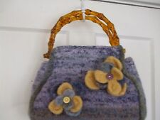 Felted Wool Tote Purse Ombre Purple Faux Bamboo Handles