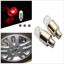 Universels 4 pces rouge LED Lampes Lampes voiture housses enjoliveurs pneu Valve tiges