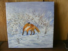 """Fox in the winter"" oil painting handpainted on canvas art, deco, hunting"