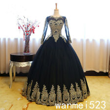 Black Gold Arabic Gothic Wedding Dress 2018 Celtic Medieval Bridal Gown Handmade