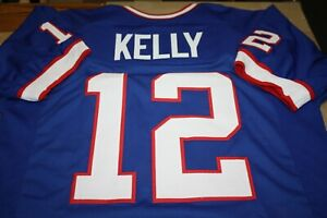 JIM KELLY #12 SEWN STITCHED HOME THROWBACK JERSEY SIZE XL HOF 2002